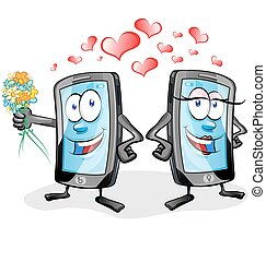 two fun mobile cartoon in love on white background