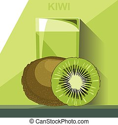 A glass of green kiwi juice, a whol