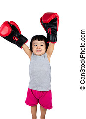 Asian Little Chinese Girl Wearing Boxing Glove with Hands Up...