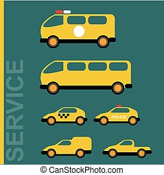 Public service cars. Ambulance, school bus, taxi, police,...