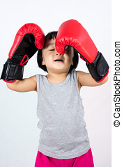 Asian Little Chinese Girl Wearing Boxing Glove With...