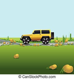 Yellow offroad car on a countryside