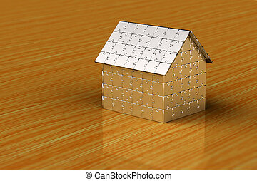 Puzzle house - House made out of puzzle pieces on wooden...