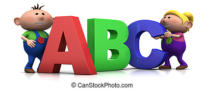 kids with ABC letters - cute boy and girl with big 3d ABC...