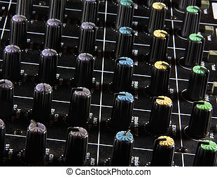 Dials - Mixing desk control panel with colored dials