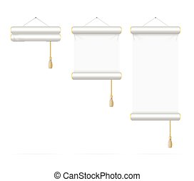 Template White Scroll Set. Vector