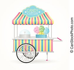 Cotton Candy Street Market Stall. Vector - Cotton Candy...