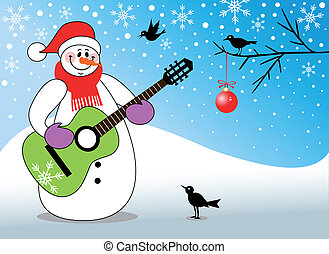 Snowman playing guitar - Happy snowman playing guitar,...