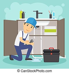 Plumber and plumbing service vector illustration Water drain...