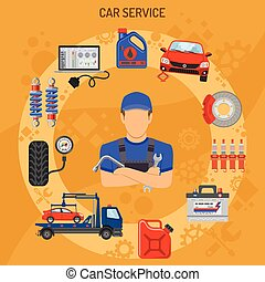 Car Service Concept - Car Service and Assistance Concept...