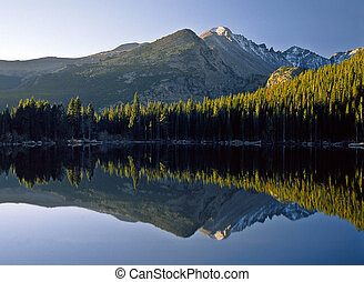 Bear Lake Sunrise - A sunrise reflection of Longs Peak and...