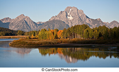 Sunny September Morning - Mt Moran from Grand Teton Natl...