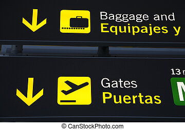 Baggage Reclaim and Airport Gate Sign