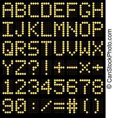 Colorful orange LED set against. Scoreboard digital font