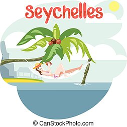 Seychelles flyer with a girl lying