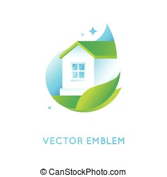 Vector logo design template in bright green gradient colors