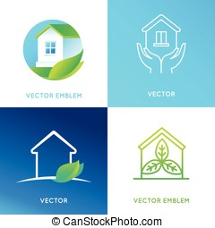 Vector set of logo design templates and emblems in bright...