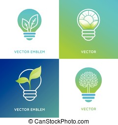 Eco energy concept - light bulb icons with green leaves -...