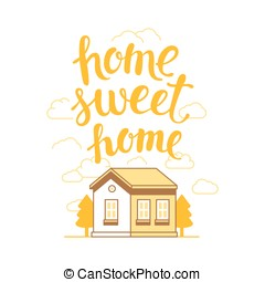 Vector home sweet home poster in flat linear style with...