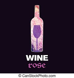 Rose wine tasting card, with colored bottle and a glass over...
