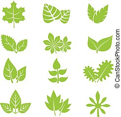 Green leaves vector icons set