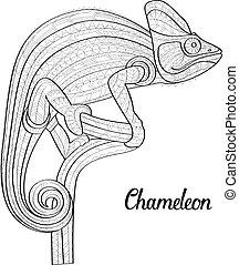 Hand drawn doodle outline chameleon illustration. Decorative...