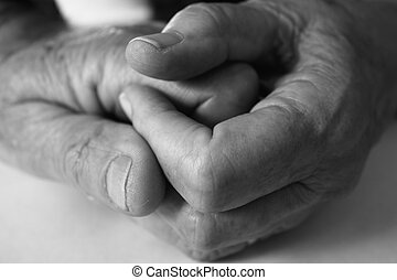 Elderly hands - Black and white image of elderly hands...