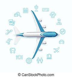 mundo, aeropuerto,  vector, concepto, viaje