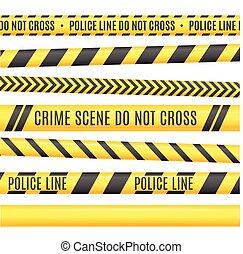Police Line Set. Vector - Police Line Set. Different...