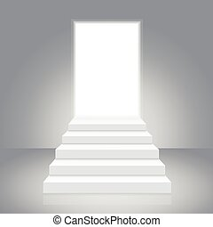 White Staircase to Open Door. Vector
