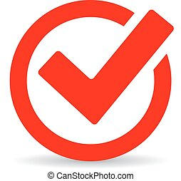 Red round checkbox icon isolated on white background