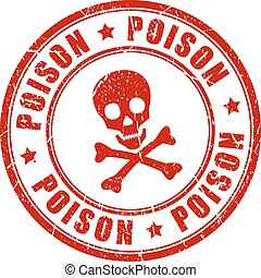 Poison danger vector rubber stamp isolated on white...