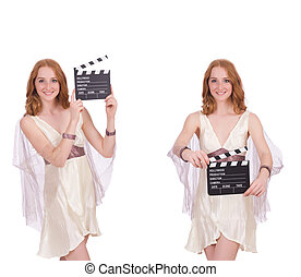 Woman with movie clapper isolated on white
