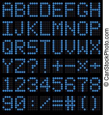 Colorful blue LED set against. Scoreboard digital font