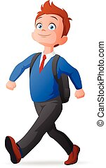 Cheerful cute young boy in uniform walking to school. Vector...