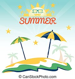 Summer holiday card with beach, sun