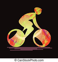Bicycle sport card with an abstract character cycling,...