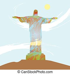 Abstract design with statue over li