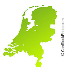 Netherlands - Green gradient map of Netherlands isolated on...