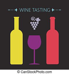 Wine tasting card, two yellow and r