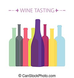 Wine tasting card, with colored bottles over a white...