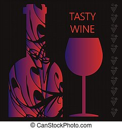 Red wine tasting card, a bottle wit