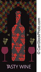 Wine tasting card, bottle with red grape sign, over black...