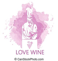 Wine tasting and love card, white bottle over purple...