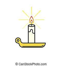 Candle burning icon line - Candle icon Burning candle thin...