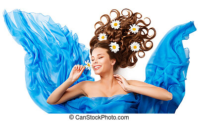Woman Smelling Flower, Happy Girl Flowers Hair Style in...