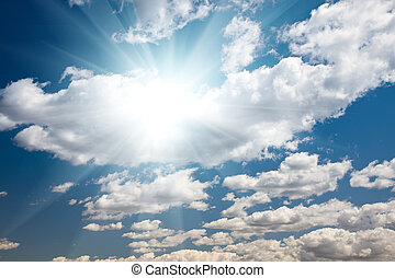 Blue Sky with Clouds and Sun Rays - Beautiful Blue Sky with...