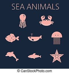 Pink sea animal set in outlines wit