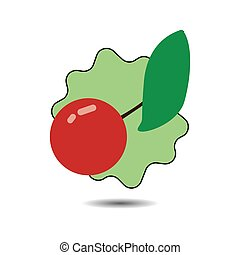 Flat red cherry icon with green leaf, with shadow over white...