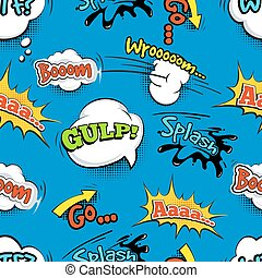 Vintage comic shout vector seamless pattern Speech bubble...